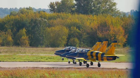 激しい : 30 AUGUST 2019 MOSCOW, RUSSIA: reactive planes are riding on the runway - baltic bees jet team