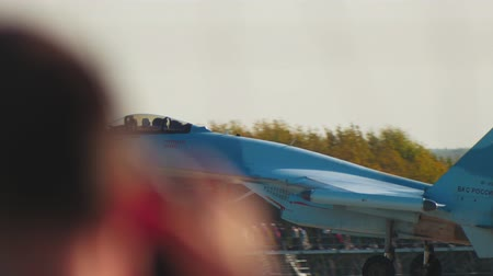 freedom fighter : 29 AUGUST 2019 MOSCOW, RUSSIA: A reactive blue fighter airplane is taking off