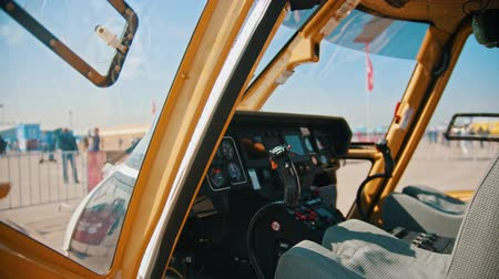 летчик : 29 AUGUST 2019 MOSCOW, RUSSIA: A inside view of the dashboard in helicopter pilot cabin