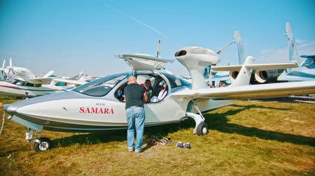 sierpien : 30 AUGUST 2019 MOSCOW, RUSSIA: Seaplane SAMARA - a kid sitting in the cabin