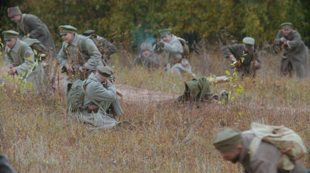 historical reconstruction : RUSSIA, REPUBLIC OF TATARSTAN 30-09-2019: A reconstruction of military operations in Russia in 1917 - Performing hostilities on the battlefield