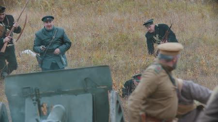 historical reconstruction : RUSSIA, REPUBLIC OF TATARSTAN 30-09-2019: A reconstruction of military operations in Russia in 1917 - Performing hostilities on the busy battlefield