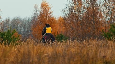 kutya : Two women riding horses in the autumn nature - ride away towards the forest