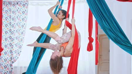 pozisyon : Aerial yoga - two athletic women having a training in the bright spacious studio