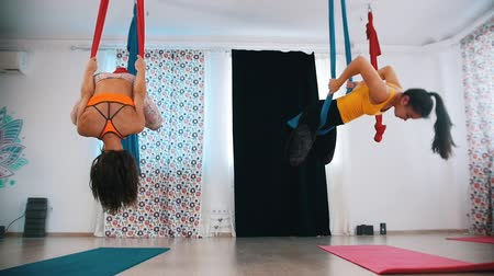 hamak : Aerial yoga - Two women exercising in hammocks