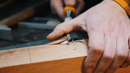 мастер на все руки : Carpentry industry - a woodworker cutting out the recess on the wooden detail with a chisel