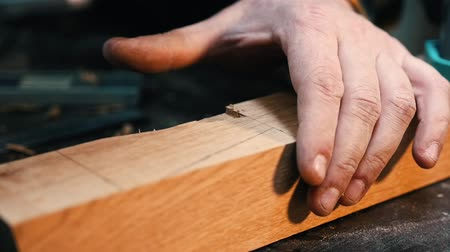 便利屋 : Carpentry industry - a man woodworker cutting out and smoothing the recess on the wooden detail with a chisel 動画素材