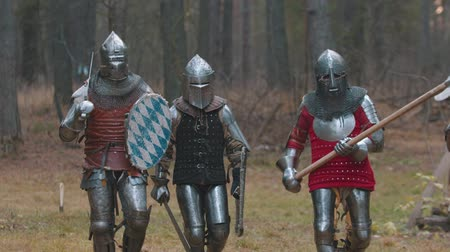 броня : Four men knightes walking in the row in the forest in full armour holding different weapons Стоковые видеозаписи