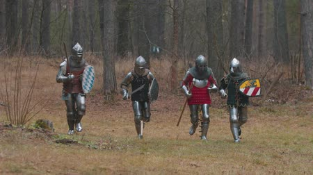 İskandinav : Four men knightes running in the row in the forest in full armour holding weapons Stok Video