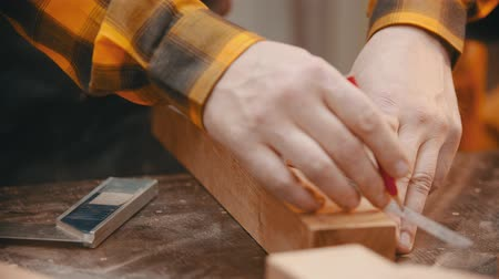trabalhador manual : Carpentry - a woodworker making marks for cutting on the wooden detail with a pencil and yardstick Vídeos