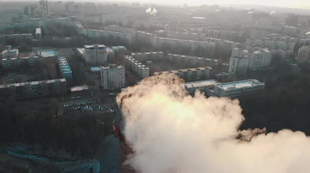 ısıtma : Air pollution - a smoke from industrial pipe pollutes the air in the city Stok Video