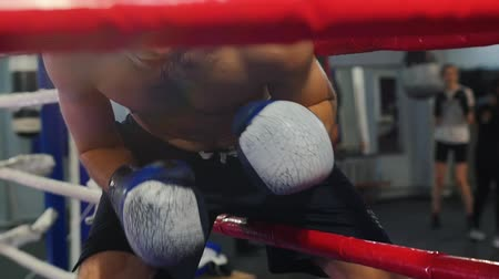 combativo : Box training in the gym - a man walking on the ring - climbs between the ring fences Stock Footage