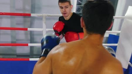 bokser : Boxing indoors - two men having a training fight on the boxing ring