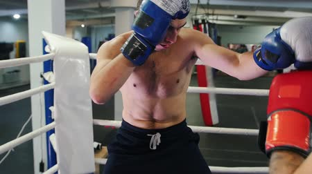 combativo : Boxing training indoors - two men having an aggressive fight on the ring - pushing the opponent to the corner