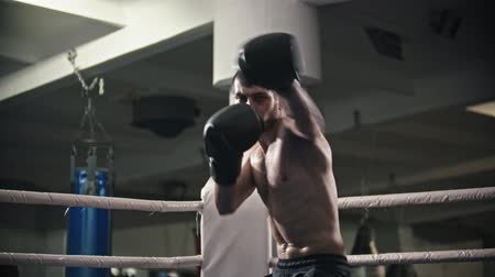 bokser : Box training - a man training - shadow fighting on the boxing ring