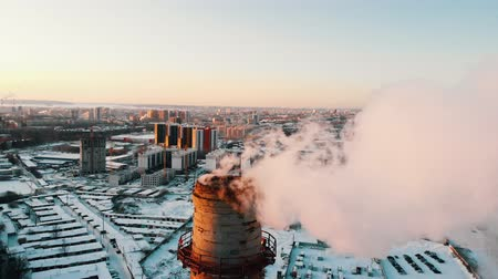 výrobní : Industrial theme - smoke coming out of a manufacturing pipe - pollution of the city