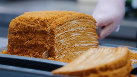 слоистых : Kitchen - a man cutting homemade honeycake with a knife and serving it on the plate