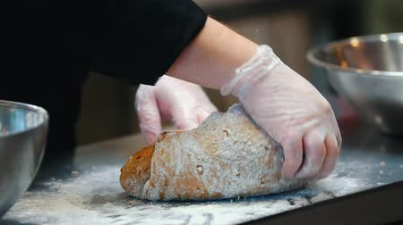sponka : KITCHEN - the chef wrinkling the dough with his hands