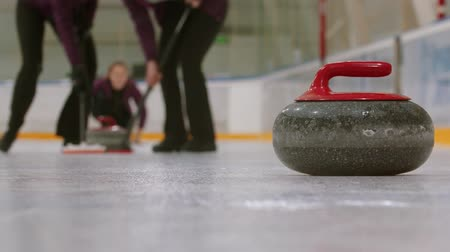 fegyelem : Curling training - a granite stone biter with red handle - playing curling on the background Stock mozgókép