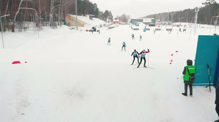 narciarz : RUSSIA, KAZAN 08-02-2020: Skiing competition on the area