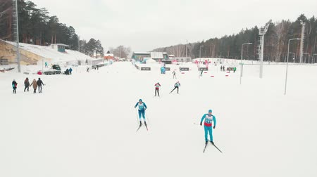 narciarz : RUSSIA, KAZAN 08-02-2020: Skiing competition outdoors