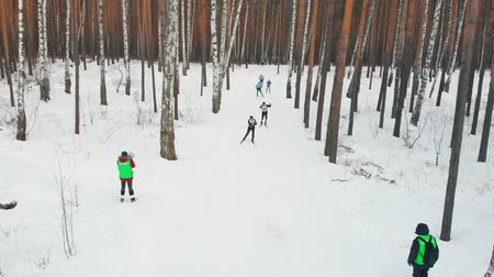 narciarz : RUSSIA, KAZAN 08-02-2020: Skiing competition - people skiing in the woods Wideo
