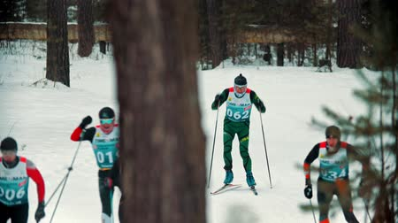 narciarz : RUSSIA, KAZAN 08-02-2020: Skiing competition - adult men skiing in the forest with an effort Wideo