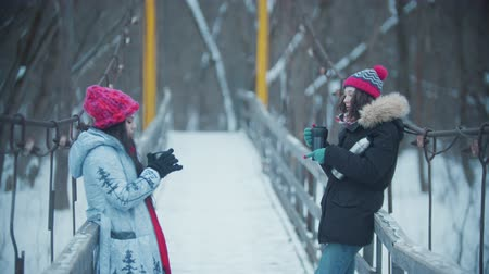 Two young women standing and having a talk on the snowy bridge - drinking hot drinks from the thermos