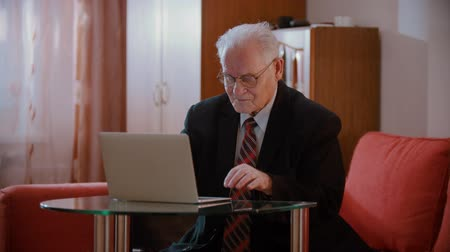 Elderly grandfather - old grandfather at home is trying to deal with a computer