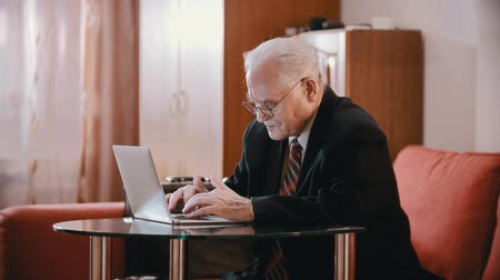 Elderly grandfather - grandfather is slowly writing something on the computer in the room Stok Video