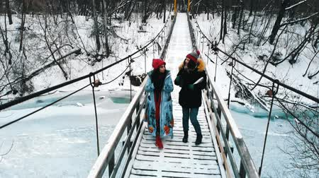ormanda yaşayan : Two young women drinking hot drinks and walk on the winter bridge Stok Video