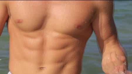mens beefy torso against the sea Stock Footage