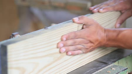 mens hands working on wood Stock Footage
