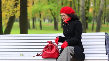 Beautiful woman with a bag, sitting on bench in autumn park. Stock Footage