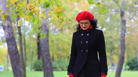 forget : A beautiful woman walks and reflects in the autumn park Stock Footage