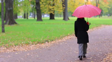 pensamento : Woman with red umbrella in the autumn park. Stock Footage