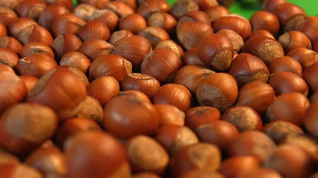 ve slupce : Hazelnuts on a green background. 2 Shots. Slow motion. Horizontal pan. Close-up.