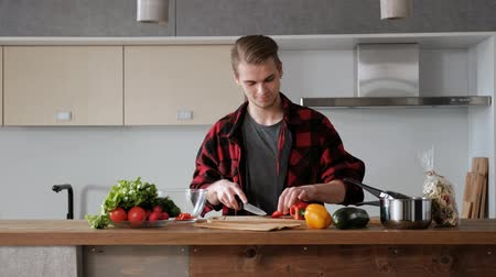 pléd : Young beautiful couple in plaid shirts are cooking at home in the kitchen. A woman and a man cut vegetables and make a salad of pepper, tomato, radish in a transparent glass dish. Two glasses of wine.