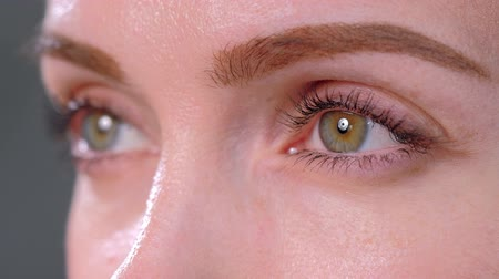 contraction : Green eye of a young blonde woman close up. Studio photography.