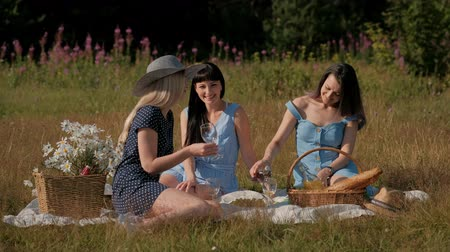 Three young women, in blue dresses, and hats, sit on plaid and drink wine from glasses. Outdoor picnic on grass in forest. Delicious food in picnic basket. Watermelon, and bouquet of daisies.