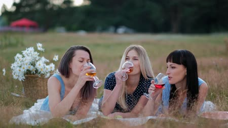 Three young women in blue dresses, and hats lie on plaid and drink wine. Outdoor picnic on grass on beach. Delicious food in picnic basket and wine. Watermelon, grapes and bouquet of daisies.