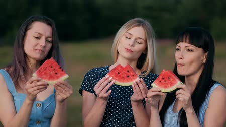 Three young attractive women friends in blue dresses at sunset are eating watermelon and smiling. Outdoor picnic.