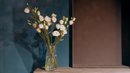 vazo : Glass vase with gently pink carnations stands on a wooden table against the background of the wall. Part of the interior. Glowing dust and powder. Stok Video