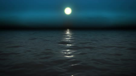su üzerinde ufuk : Night sea with moon