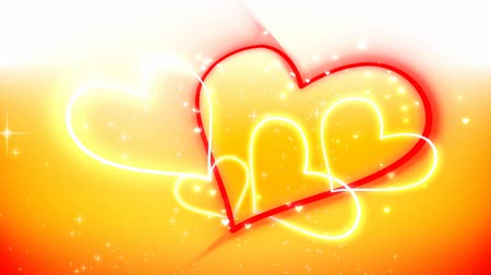 yellow ink : Valentines heart lines Stock Footage