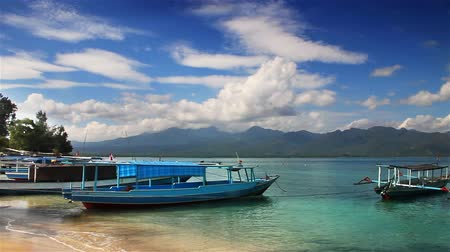 indonesia : Boats on the beach loop Stock Footage