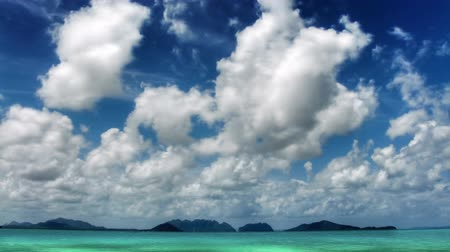 beach panorama : Islands and sky time lapse Stock Footage