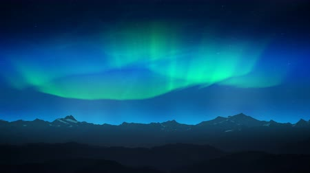 к северу : Green aurora over night mountains loop Стоковые видеозаписи