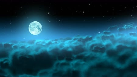 lunar : Bright moon over night clouds with stars loop