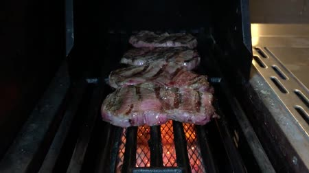 frying meat, barbecue grill Стоковые видеозаписи